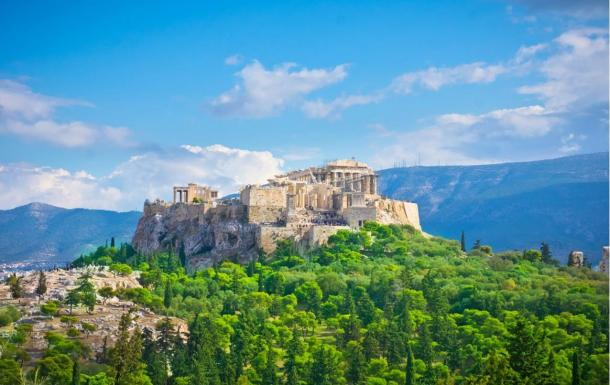 The Parthenon sits within the Acropolis in Athens,  Greece.