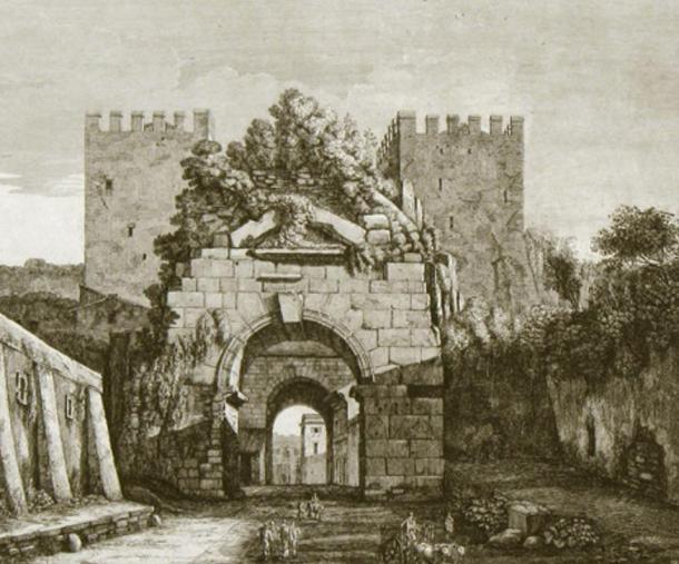 The Porta Carpena, Rome. Copperplate engraving by Luigi Rossini