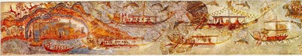 The 'Procession' Fresco, Room 5, West House, Akrotiri. (Art History Blogger) Showing a flotilla of white hulls from trading islands paying tribute in head of herd to Carians (Marines) at Delos for Service.  C.1,500 BC