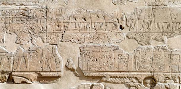 The Procession of the Opet Festival, Colonnade Hall east wall, central section, Luxor Temple