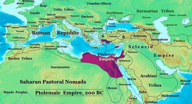 The Ptolemaic Kingdom of Egypt in 200 BC. (CC BY-SA 3.0)