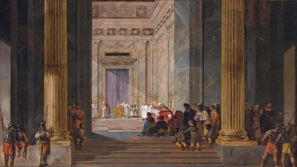 The Queen of Sheba before the temple of Solomon in Jerusalem
