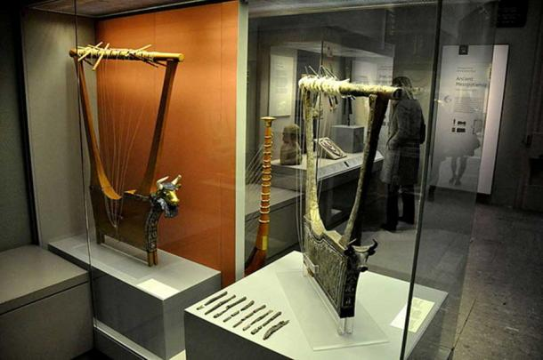 The Queen's lyre and the silver lyre, from the Royal Cemetery at Ur, southern Mesopotamia, Iraq. The British Museum, London. (Osama Shukir Muhammed Amin FRCP(Glasg)/CC BY SA 4.0)
