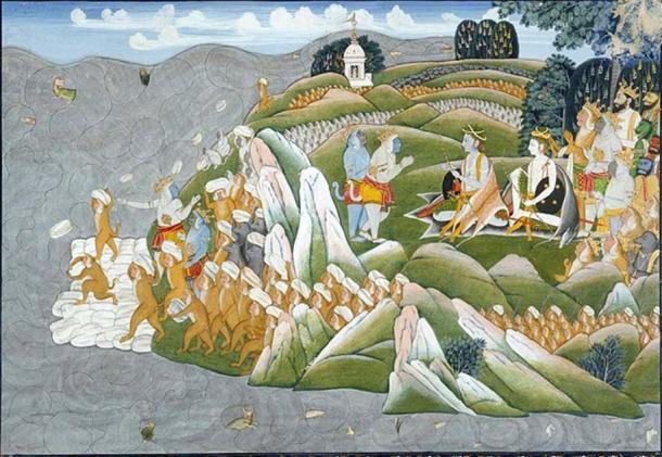 The Rama Setu being built by the monkeys and bears.