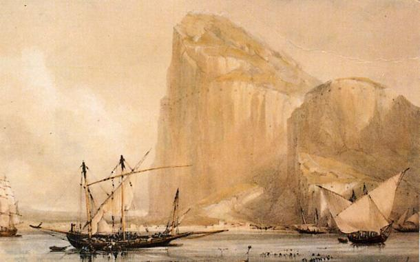 The Rock of Gibraltar's North Front cliff face from Bayside (c.1810) showing the embrasures in the Rock. (Public Domain)