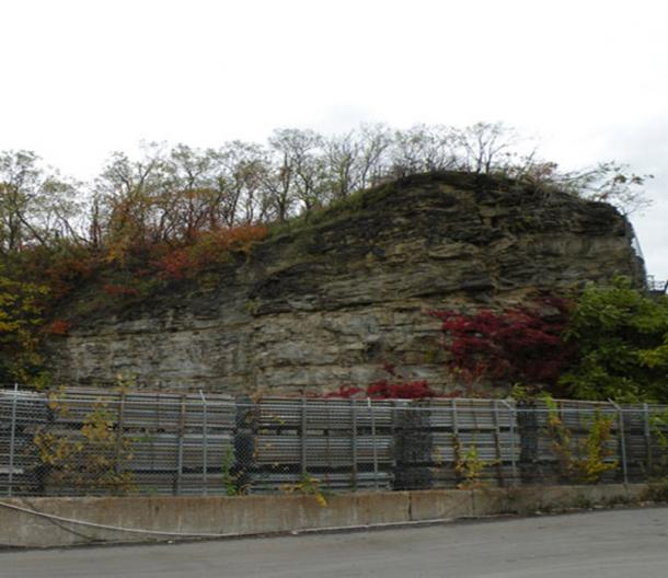 """Picture of """"The Rocks"""" of McKees Rocks, Pennsylvania, on October 24, 2009. These rocks on the cliff, which are at the end of the hill that also contains the McKees Rocks Mound, were likely the first thing the early settlers saw of the area when they traveled up the Ohio River from Fort Pitt."""