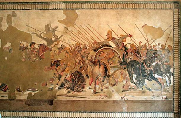 The Roman Alexander Mosaic showing Alexander the Great (left) defeating Darius III of Persia; a floor mosaic excavated from Pompeii, c. 100BC. (Magrippa/CC BY SA 3.0)