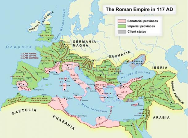 """The Roman Empire in AD 117. The western Asia Minor Senatorial province of """"Bithynia and Pontus"""" is shown in pink, in present day Turkey. (Public Domain)"""
