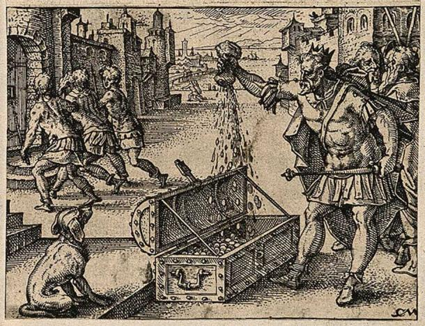 The Roman emperor Valens pours money into a coffer; an officer is arrested and led to prison. Etching by C. Murer after himself, c. 1600-1614. (Wellcome Images/CC BY 4.0)