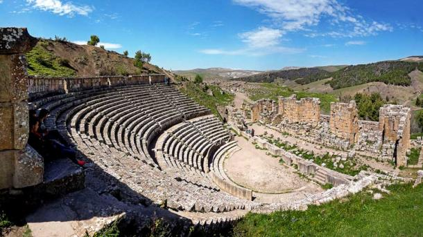 The Roman theatre of Djémila (Public Domain)