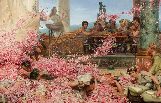 The Roses of Heliogabalus by Alma-Tadema. Roman diners being swamped by drifts of pink rose petals falling from a false ceiling above. The youthful Roman emperor Elagabalus, wearing a golden silk robe and tiara, watches the spectacle from a platform behind them. (Jan Arkesteijn / Public Domain)