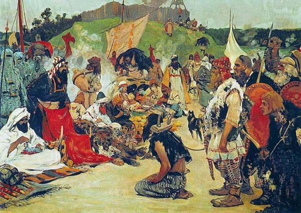 The Rus trading slaves with the Khazars: 'Trade in the East Slavic Camp' (1913) by Sergei Ivanov. (Public Domain)