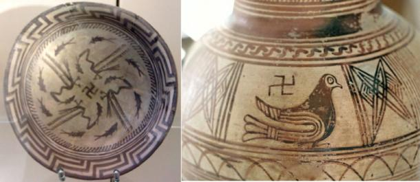 Left, The Samarra bowl at the Pergamonmuseum, Berlin. The swastika in the center of the design is a reconstruction. (CC BY-SA 4.0); Right, Finding the cemetery of Ancient Thera, 8th to 7th century BC. Archaeological Museum of Fira. (CC BY-SA 3.0)