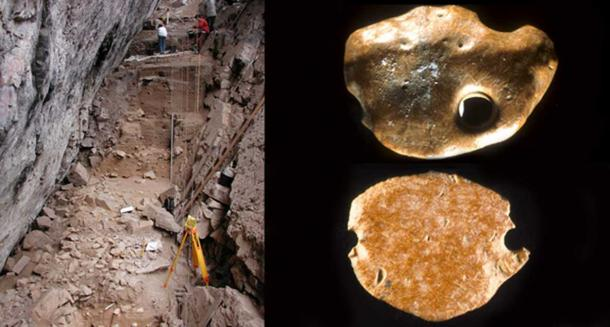 The Santa Elina Brazilian rock shelter (left) and sloth bones unearthed at the site. (right: top and bottom)