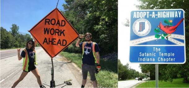 The Satanic Temple volunteers and the Adopt A Highway sign they have earned. (Images: The Satanic Temple – Indiana Chapter)