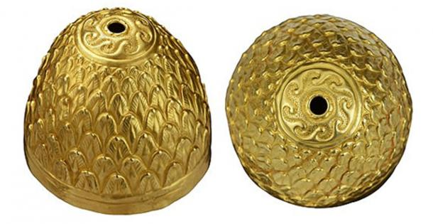The Scythian ritual vessel is in the shape of a cone and is decorated with what appears to be a leaf design (Timeline / Fair Use)
