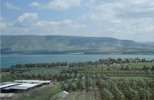 The Sea of Galilee. At its southern tip (right side) the Jordan River exits the lake and enters the Jordan Valley.