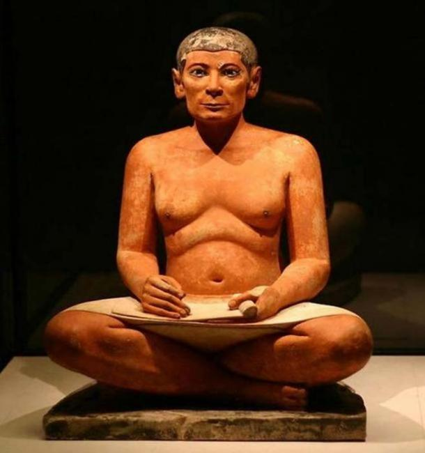 The Seated Scribe, a statue from Saqqarah dated 2600–2350 BC.