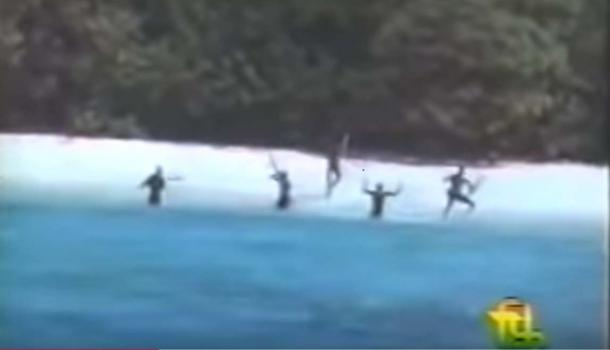 The Sentinelese on North Sentinel Island were caught on film in the 1960s and defended their shores from invasion. (Youtube Screenshot)