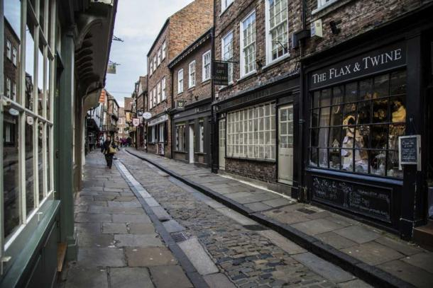 The Shambles in York. (CC0) Note the raised pavement which form a channel.