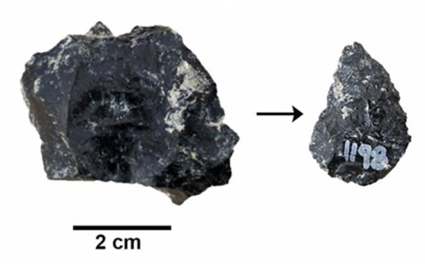 The Smithsonian team found small stone refit points and base core (above) made of non-local obsidian at their Middle Stone Age sites. (Image: Human Origins Program, Ryan Lavery Smithsonian)