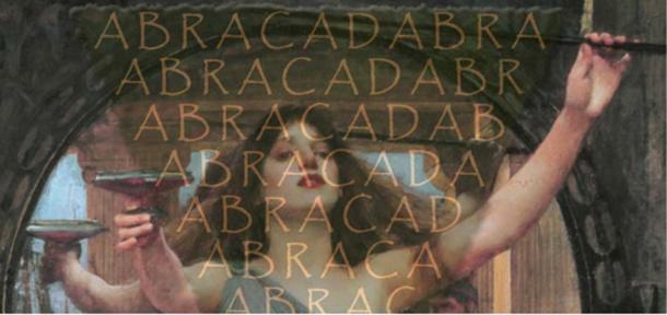 "Detail, ""The Sorceress"" by John William Waterhouse. Public Domain; The 'magic word', Abracadabra"
