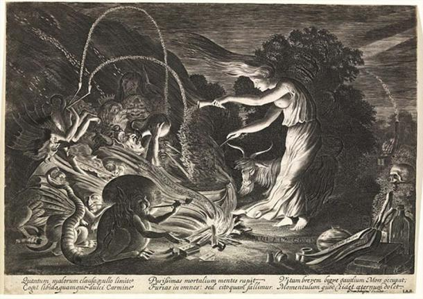 "The Sorceress, Jan van de Velde II (1626). ""The imagery of a witch's cauldron may relate back to ancient pagan beliefs surrounding springs as being repositories of occult power and conduits to another world"""