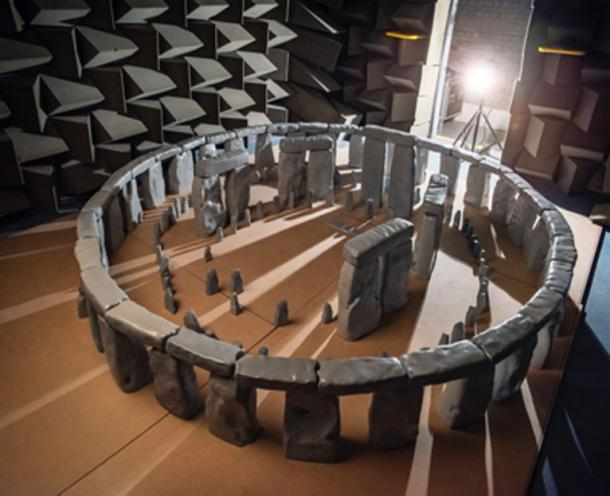 The Stonehenge model with the sun position for winter solstice. (Trevor Cox / University of Salford)
