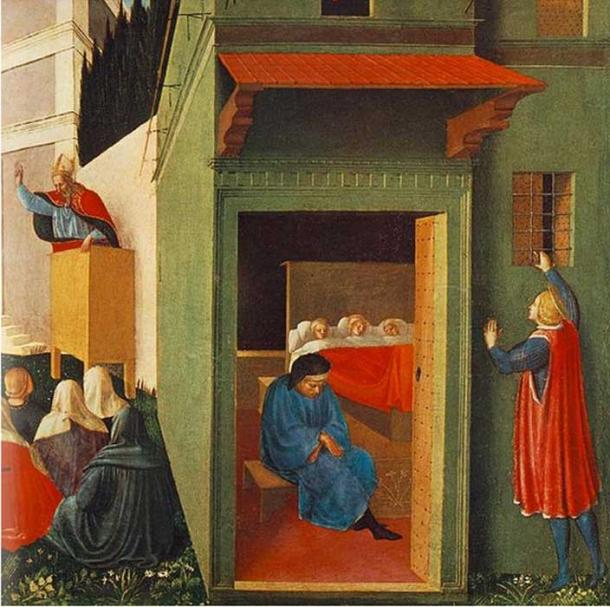 Painting titled 'The Story of St Nicholas: Giving Dowry to Three Poor Girls' (c. 1437) by Fra Angelico.
