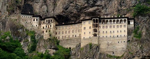 The Sümela Monastery as seen from across the narrow Altındere valley that it is located in, south of Trabzon in Eastern Turkey.