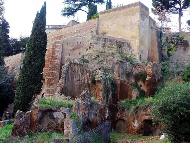 The Tarpeian Rock Capitoline Hill, overlooking the Roman Forum in Rome.