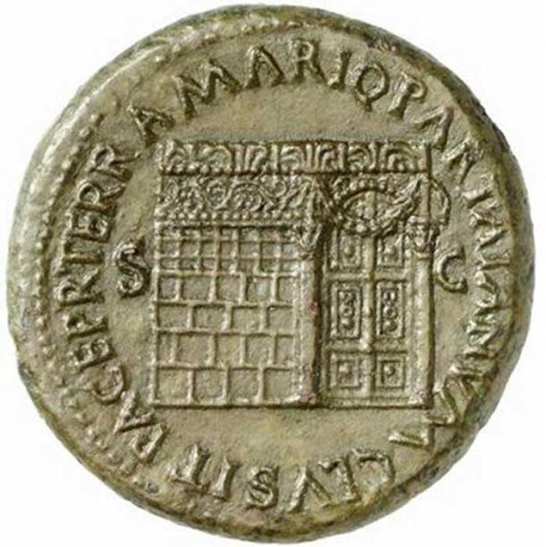 The Temple of Janus with closed doors, on a sestertius issued under Nero in 66 AD. (Mica / CC BY-SA 2.5)