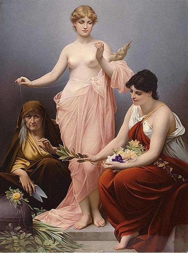 The Three Fates of Greek mythology. Painting, 19th century.