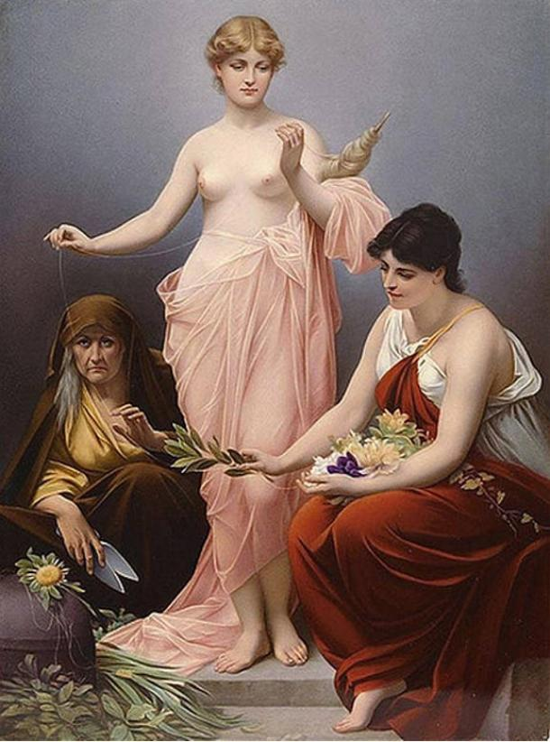 The Three Fates of Greek mythology. Painting, 19th century.
