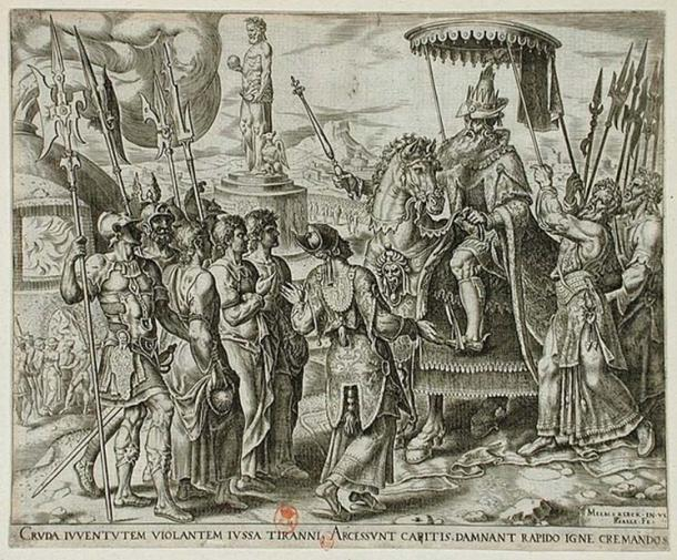 The Three Jews Brought before Nebuchadnezzar by Philip Galle, Holland 1565. (Public Domain)
