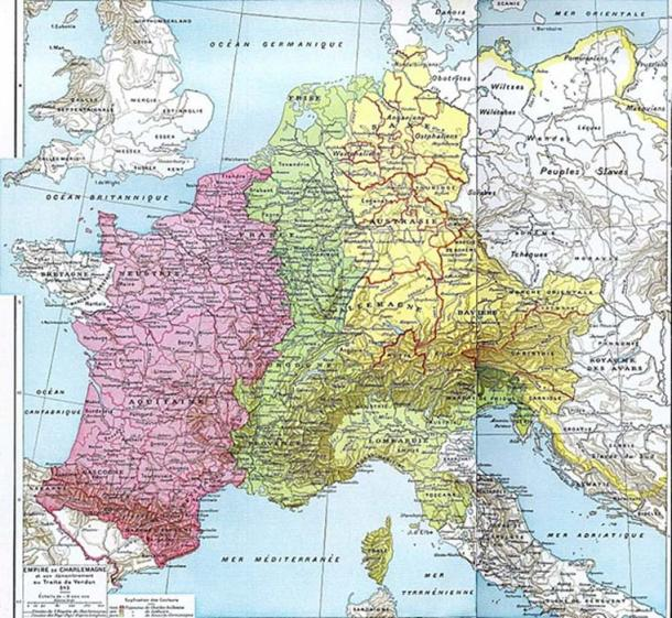 The Treaty of Verdun divided territories of the Carolingian Empire into three kingdoms which influenced inheritances and conflicts in Western Europe as late as the 20th century. (Olahus / Public Domain)