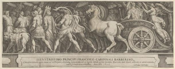 The Triumph of Two Roman Emperors (left-hand side) with a Roman Emperor riding in a triumphal chariot. Metropolitan Museum of Art (Public Domain)