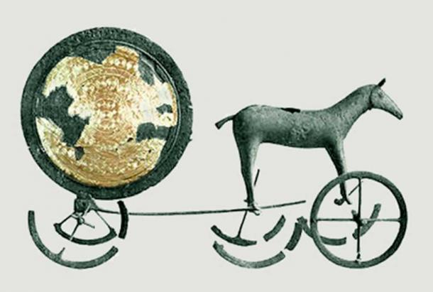 The Trundholm sun chariot (c. 1350 BC) pulled by a horse is a sculpture believed to be illustrating an important part of Nordic Bronze Age mythology.