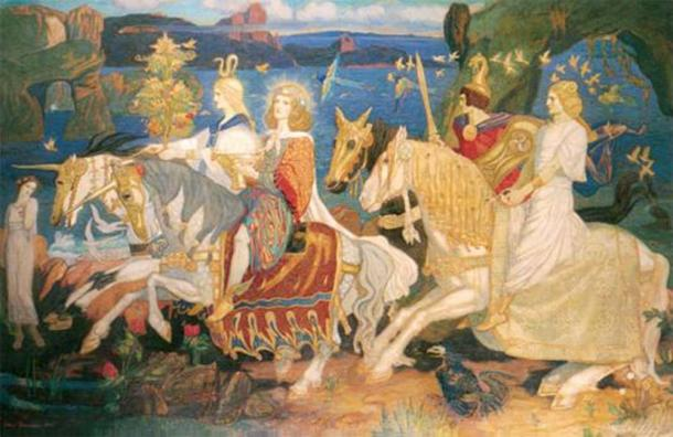 "The Tuatha Dé Danann as depicted in John Duncan's ""Riders of the Sidhe"". The Milesians met the Tuatha De Danann when they landed on Ireland. (Thomas Gun / Public Domain)"