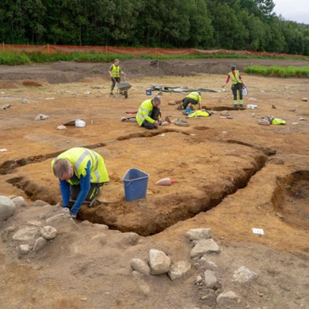 The Viking mausoleum excavation site. (Raymond Sauvage, NTNU Vitenskapsmuseet)