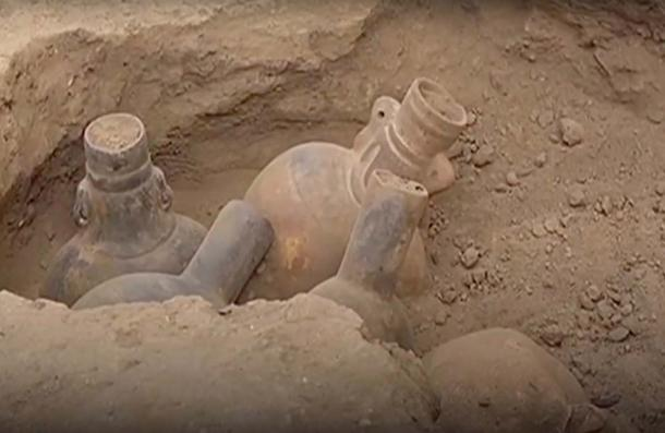 The Wari ornate drinking vessels were unearthed. (CGTN / YouTube)