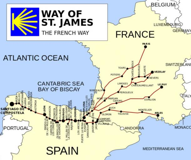 The Way of St James (the French Way), concluding at the Santiago de Compostela