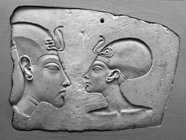 The Wilbour Plaque, Brooklyn Museum. Nefertiti is shown nearly as large as her husband, indicating her importance.