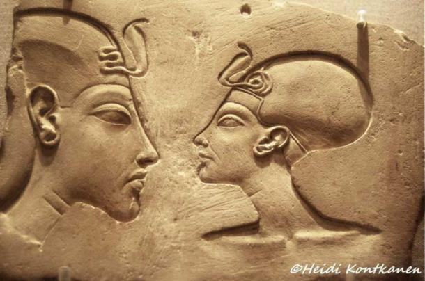 The Wilbour Plaque is named for the early American Egyptologist Charles Edwin Wilbour (1833–1896), who acquired it in Egypt in 1881. This sculptor's model depicts Akhenaten and Nefertiti – wearing the khat headdress and ovoid cap crown respectively – and shows the royal couple as equals; which is proof of the extraordinary status enjoyed by the Amarna queen. Brooklyn Museum, New York.