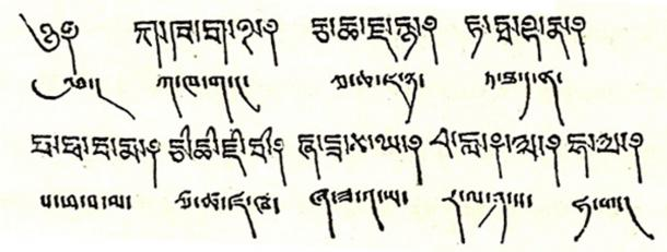 The Zhang Zhung script, written by Wikimedia Author Phubutsering