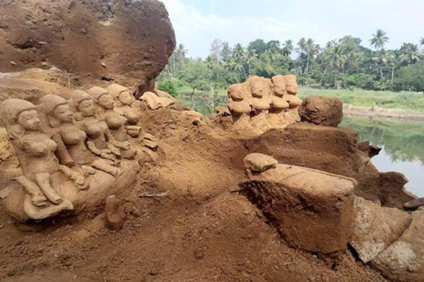 The ancient idols were found on the riverbank after a flood. (Krishnaraj K/Facebook)
