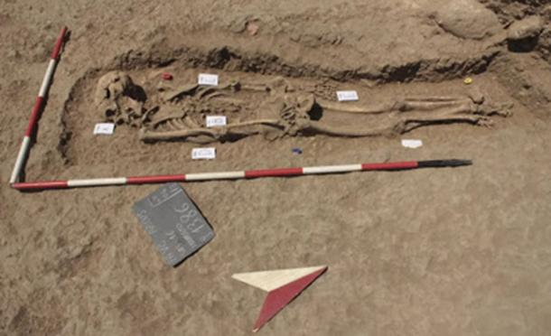 The ancient murder victim was discovered in a mass grave. (Anagnostis Agelarakis / Adelphi University)