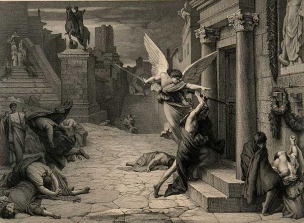 The angel of death striking a door during the plague of Rome. Engraving by Levasseur after J. Delaunay. (Wellcome Images/CC BY 4.0)