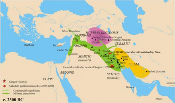 The approximate area of Hurrian settlement in the Middle Bronze Age is shown in purple