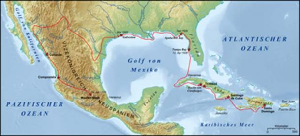 The approximate route of the Narváez expedition from Santo Domingo. (Lencer / CC BY-SA 3.0)